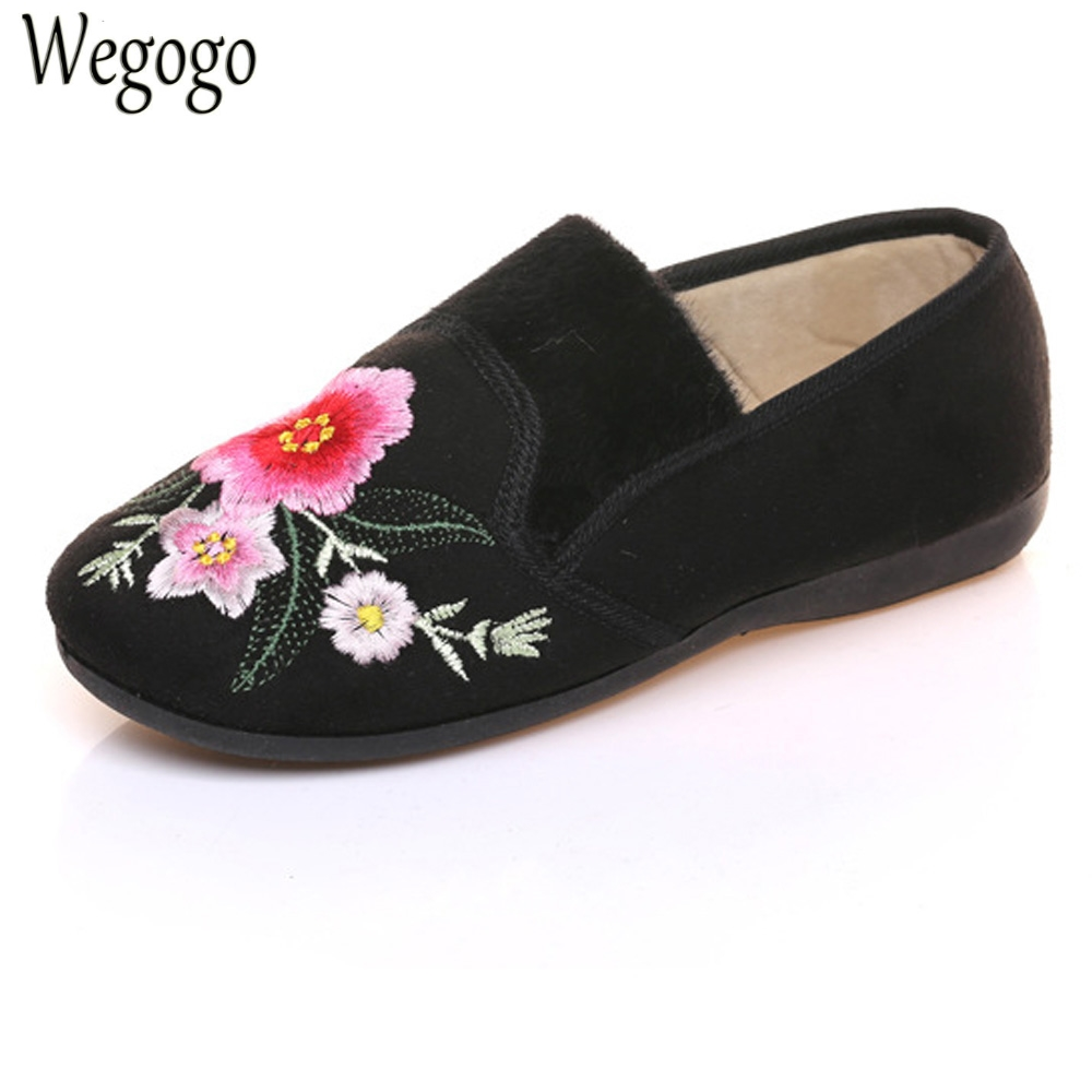 New Women Flats Cotton Velvet Winter Warm Floral Embroidered Cloth Shoes Slip On Ballets Black Sapato Feminino Shoes Woman 2016 winter new soft bottom solid color baby shoes for little boys and girls plus velvet warm baby toddler shoes free shipping