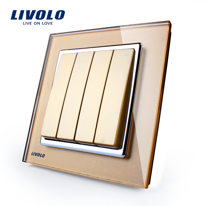 Livolo UK standard New Push Button Switch, 4Gang 1 Way, Golden Glass Panel, Manufacturer of  Wall Light Switch, VL-W2K4-13 3 gang 2 way wallpad smart home eu uk standard silver metal frame 3 gang 2 way push button lighting staircase switch 110v 220v