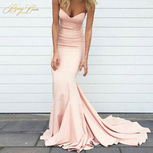 Simple Mermaid Blush Pink Evening Dress 2019 Long Sweetheart Gown Women Plus Size Cheap Strapless Prom Party