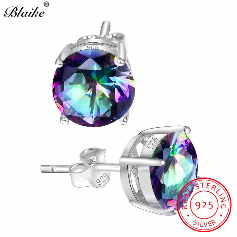 Blaike Mystic Rainbow Zircon 8MM Round Stone Stud Earrings For Women 100% Genuine 925 Sterling Silver Birthstone Earrings Gifts