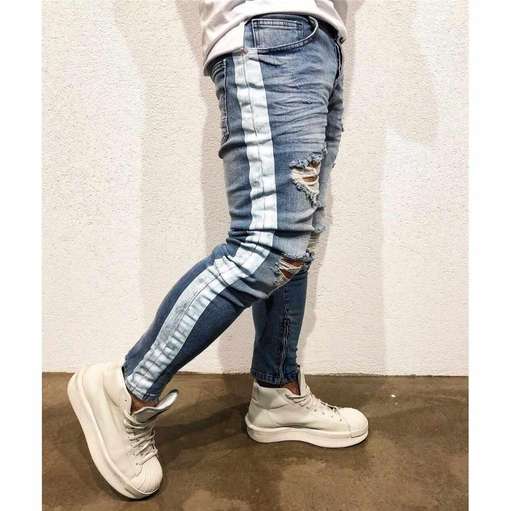 Moomphya Distressed ripped holes men jeans Side striped blue jeans men Zipper hip hop jeans streetwear Slim biker jeans skinny