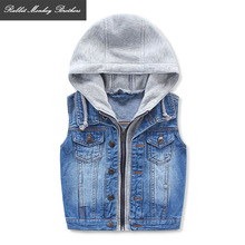 Children denim Hooded Vest Spring Autumn / Fall 2017 new youngsters's clothes Casual All-match waistcoat Baby Boys jacket tops