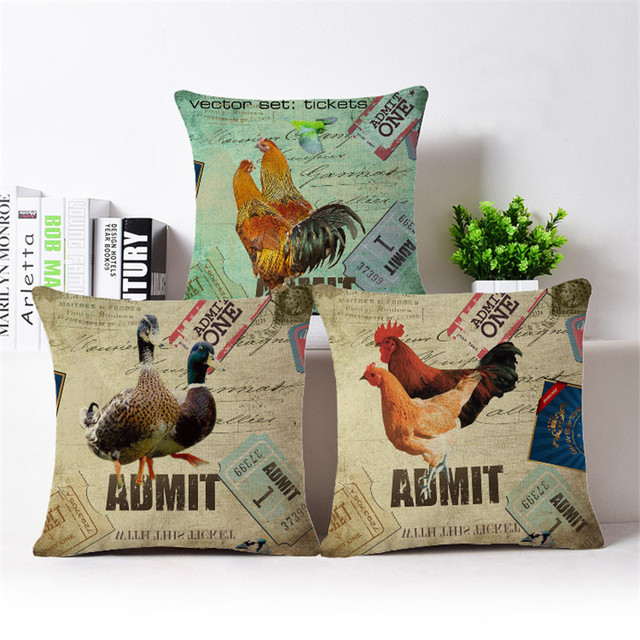 Vintage Cock Rooster Cushion Cover Cotton Linen Decorative Pillowcase Chair  Seat Square 45x45cm Pillow Cover