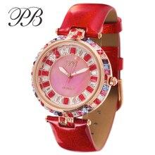 PB Reloj Superior de la Marca de Lujo de Las Señoras de Cristal Austriaco Joyas de Colores de Las Mujeres de Cuero Genuino Relojes de Mujer de cuarzo-reloj montre femme
