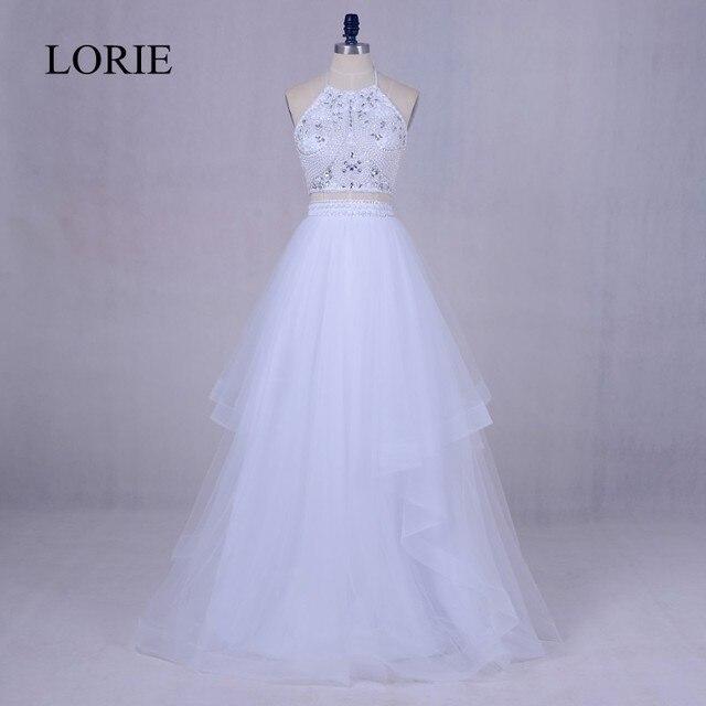 f109661a48af4 Beyaz 2 Adet balo kıyafetleri 2018 LORIE Güzel Kızlar Mezuniyet Parti Elbise  Boncuk Üst Backless Abendkleid