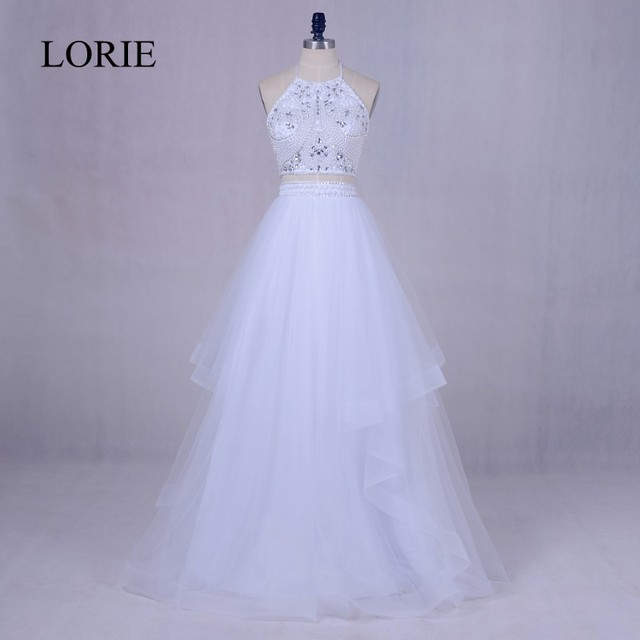 838d2462297 White 2 Piece Prom Dresses 2018 LORIE Pretty Girls Graduation Party Dress  Beading Top Backless Abendkleid Formal Evening Gowns