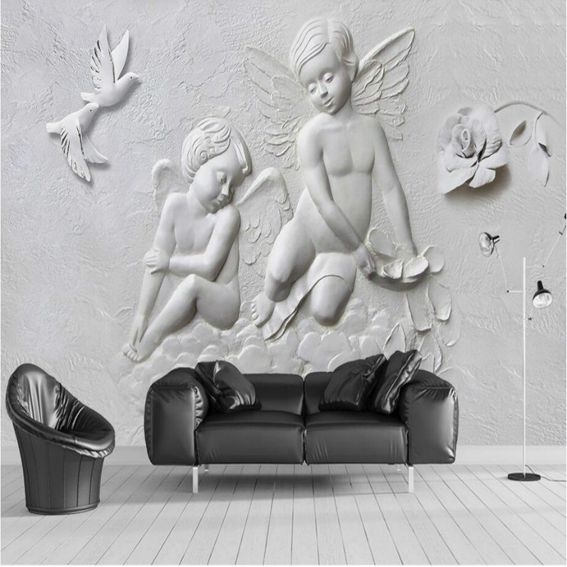 Home Improvement 3D Wallpaper for Walls 3d Decorative Wall Paper Background Painting Mural Wallpapers 3D Relief Angel wallpapers home improvement decorative painting wallpaper for walls living room 3d non woven silk wallpapers 3d wall paper retro flowers