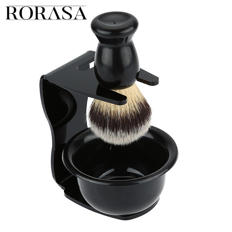 Men's Manual Razor Set Stainless Steel Stand Holder Wet Shaving Beard Brush Bowl Shaving Razor Stand
