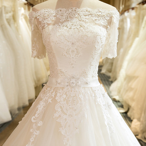 Image 4 - SL 5 Charming A Line Short Sleeve Tulle Lace Appliques Vintage Boho Wedding Dress