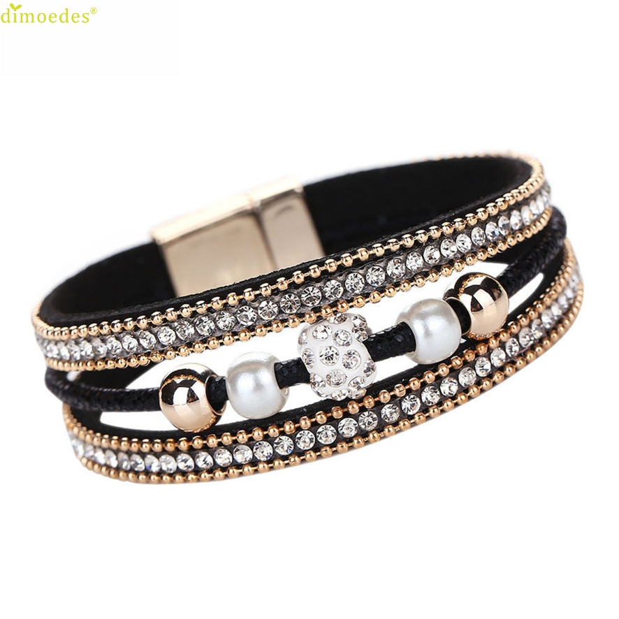 HOT Brand New 2018 Women Multilayer Bangle Bracelet Crystal Beaded Leather Magnetic Wristband Bracelet 202510