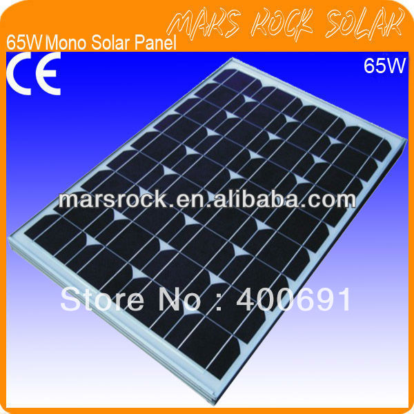 65W 18V Mono Crystalline Silicon PV Solar Module for Solar System with CE, TUV, RoHS, UL, ISO Certificates, Promotion!!! for canon crg119 crg319 crg719 black compatible toner cartridges with ce sgs stmc iso rohs certificates