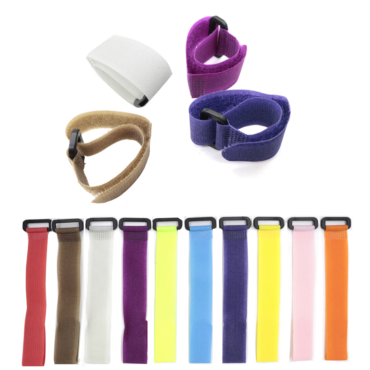 5pcs Reusable Fishing Rod Tie Holder Strap Suspenders Fastener Hook Loop Cable Cord Ties Belt Fishing Accessories