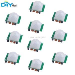 10 pçs/lote HC-SR501 pir infravermelho ir sensor corpo detector de movimento módulo para arduino alarme segurança
