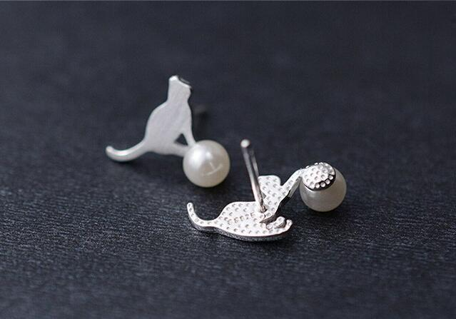 Pearl Stud Earrings with Cats