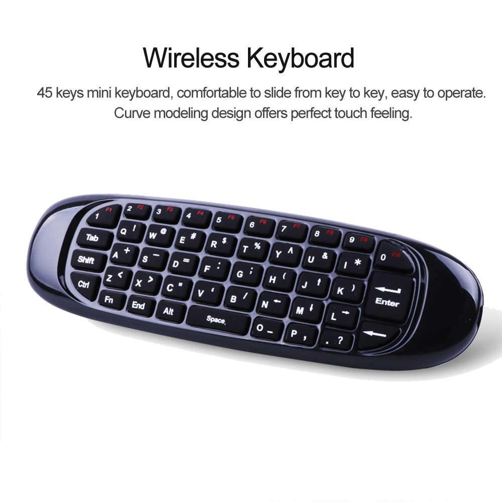 6 ejes giroscopio C120 2,4G Air Mouse recargable teclado inalámbrico Control remoto para Android TV Box computadora versión en inglés