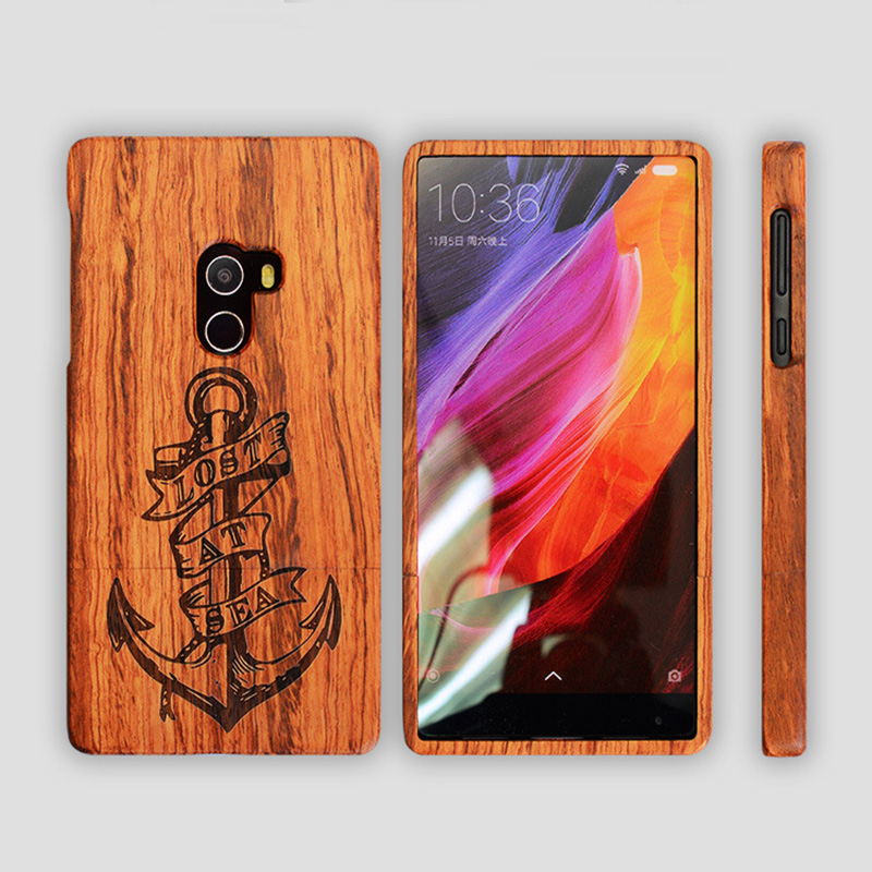 For Xiaomi mi mix Case Wood Cover Natural Real Bamboo Carving Wooden Back Cover phone cases