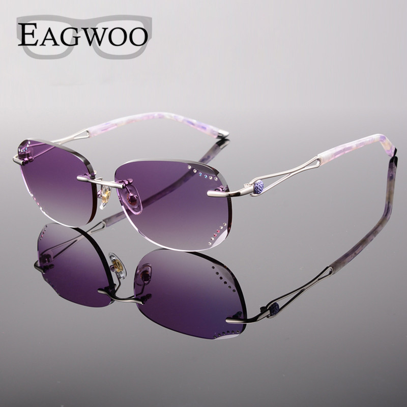 be82ce2c99 Women Rimless Sunglasses Prescription Reading Myopia Sun Glasses with Color  Tinted lenses MR 8 Lenses Crystal Glasses 258033-in Eyewear Frames from  Women s ...