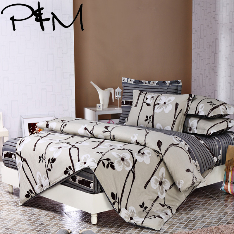 P M 6pcs Bedding sets Pillowcase fitted sheet Duvet Cover set 100 cotton king queen full
