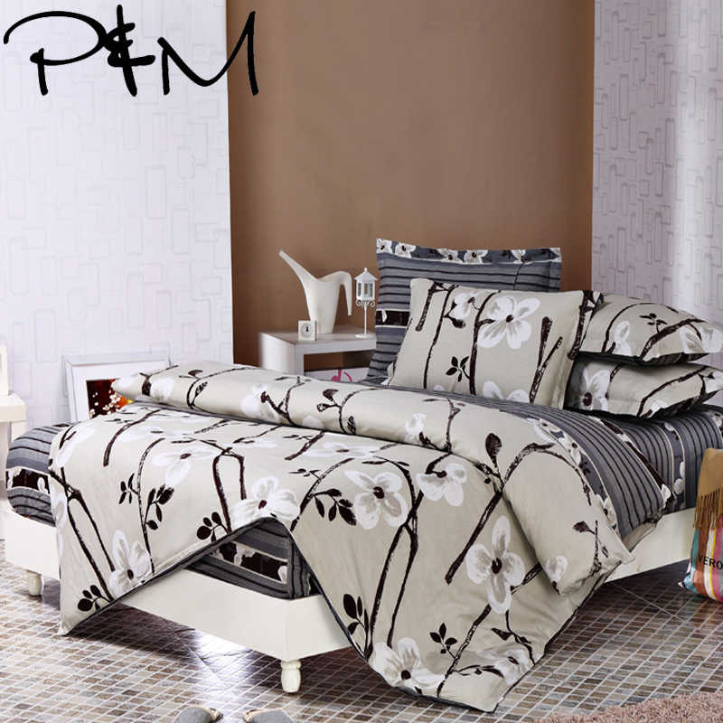 P&M 6pcs Bedding sets Pillowcase fitted sheet Duvet Cover set 100% cotton king queen full twin size bedclothes linens