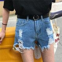 2017 mode licht gewaschen denim shorts frauen getragen schlanke taille shorts frauen weibliche wind