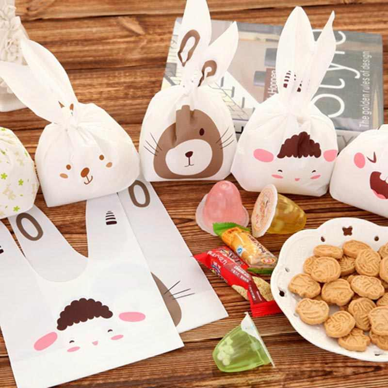 25Pcs/lot Cute Rabbit Long Ear Candy Bags Bunny Cookie Biscuit Packaging Supplies Small Snack Bag Wedding Party Favor Gift