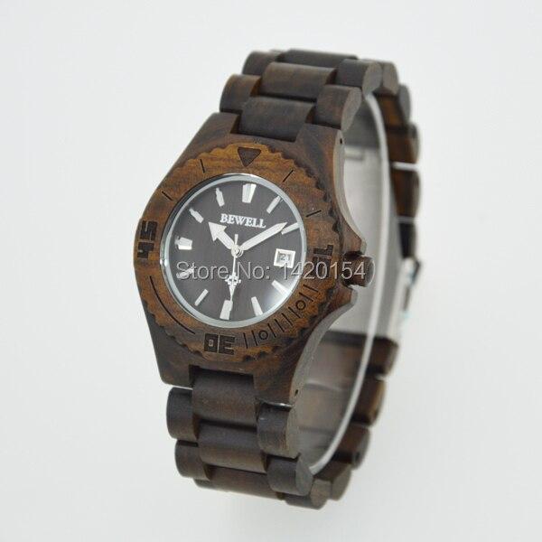 все цены на 2016 Ebony Black Mens Wooden Watch Case Bewell Wood Watch with Calendar онлайн
