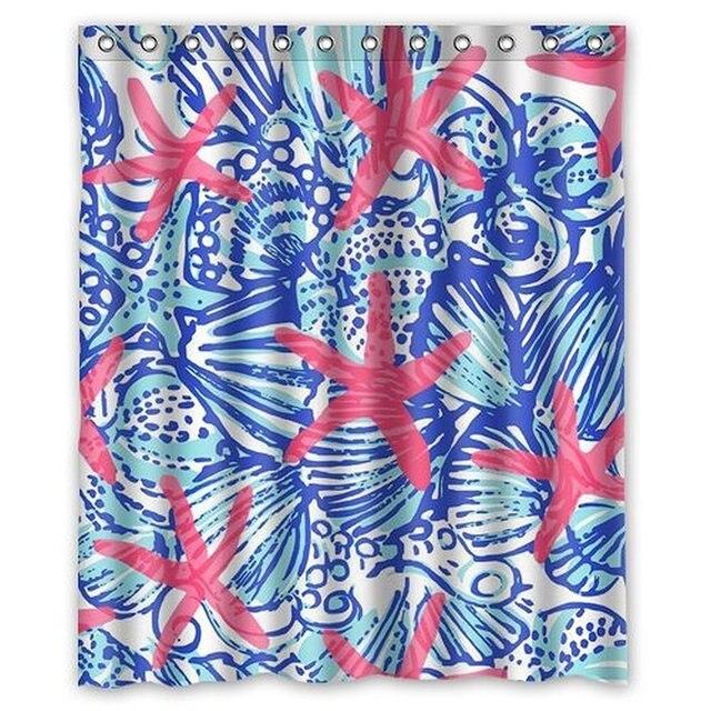 I Manggo Lilly Pulitzer Sea Prints Starfish Custom Shower Curtain72x72 Inch