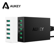 AUKEY 5 Ports USB Desktop Charger 50W/10A Fast Smart Mobile Phone Usb Charger for iPhone iPad Samsung galaxy Xiaomi Lg HTC&More