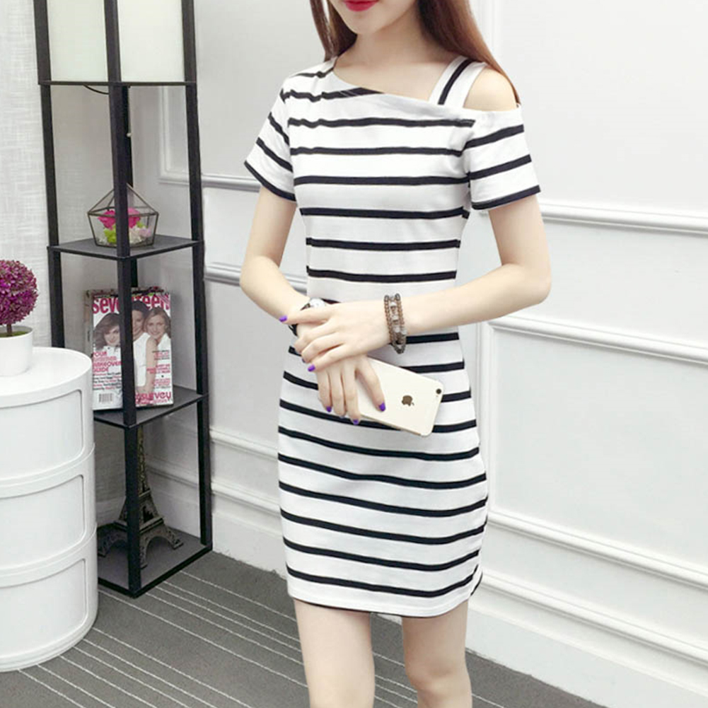 Simple Women <font><b>Dress</b></font> <font><b>Sexy</b></font> Short <font><b>Sleeve</b></font> A Line Sloping Shoulder Striped Slim Fit Daily <font><b>Pullover</b></font> Summer <font><b>Casual</b></font> Wrap Party image