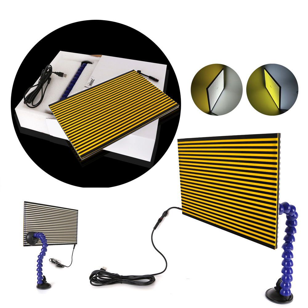 LED Double Panel PDR Strip Line Board Paintless Dent Repair Tool Kit Lamp Reflective Borde 5v USB PDR lamp Board pdr tools dent removal car dent repair led lamp reflector board led light reflection board with adjustable holder