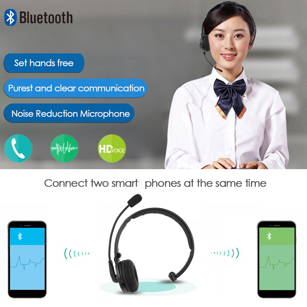 M10 Professional Bluetooth Headphones Wireless Noise Cancelling Call Center Office Headset With Microphone Long Standby Time in Bluetooth Earphones Headphones from Consumer Electronics