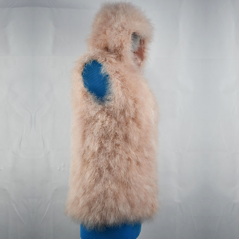 2018 New ostrich real fur Women Vest hoody fluffy Fashion Casual Warm Coat Jacket hood Fur Vests Women hooded