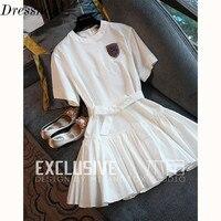 High Quality Elegant White Dress Preppy Style Women Cotton Summer Dress Short Sleeve Rhinestones Ball Gown Dress Girls