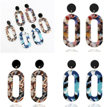 Cuteeco Trendy Jewelry New Simple Design Geometric Earrings Square Rectangle Tortoise Shell Resin Acrylic For Women