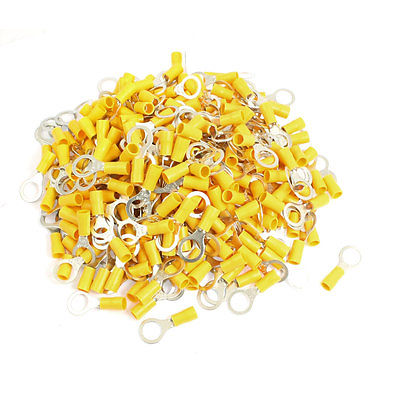 цена на 500 Pcs RV5.5-10 AWG 12-10 Yellow Sleeve Pre Insulated Ring Terminals Connector Free shipping