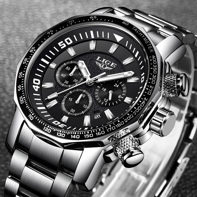 Hommes Montres Grand Cadran Militaire LIGE Chronographe Top Marque De Luxe Mode Hommes Étanche Sport Quartz Montre-Bracelet reloj hombre