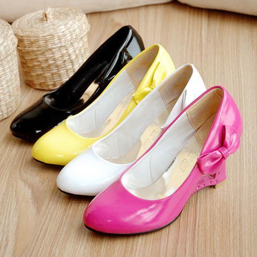 Más Arco amarillo Baja Blancas Tamaño Hebilla Grueso Bombas Plataforma Tacón Zapatos white Pink De Cuñas black Boca Alto Mujeres x7zqIC