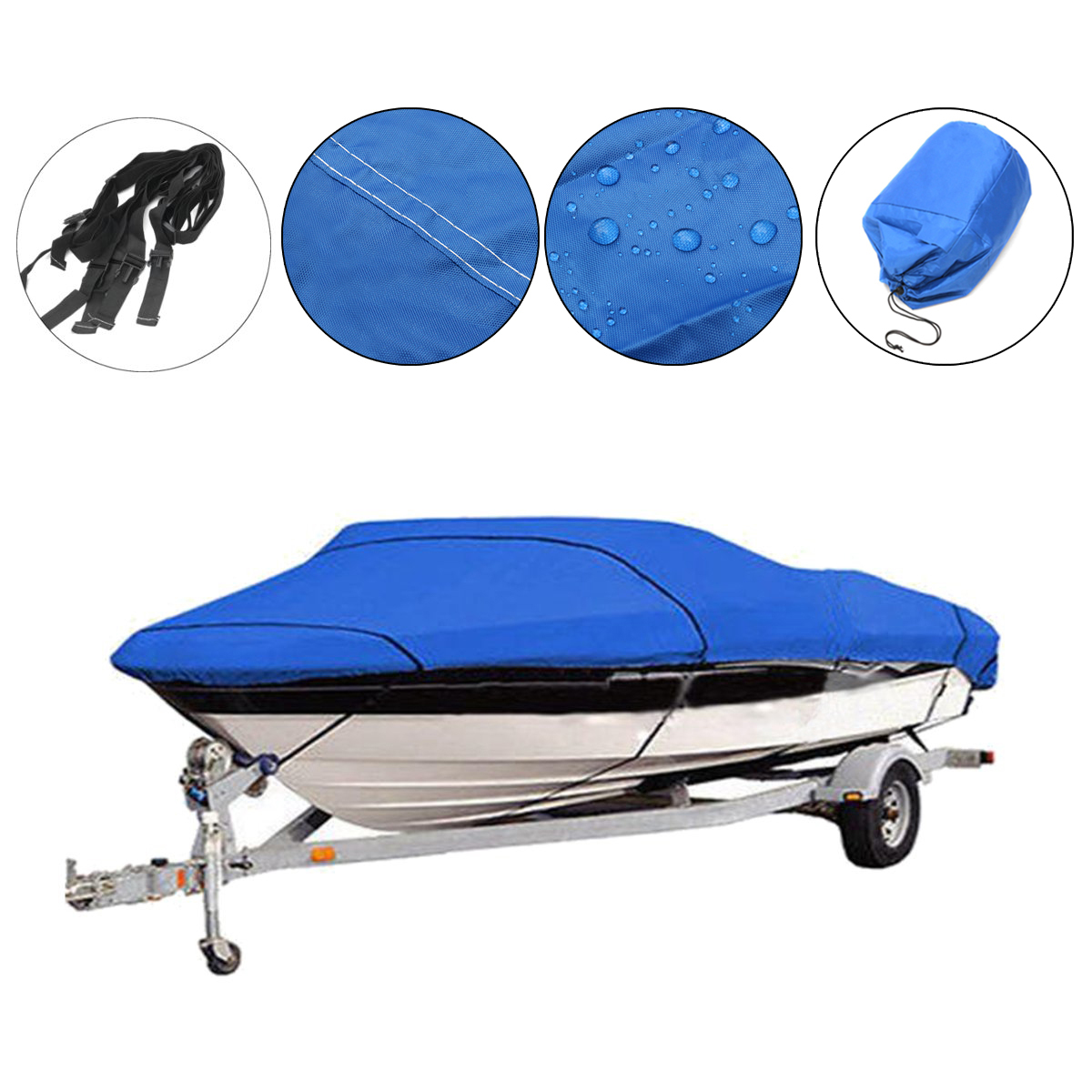 Fishing/Ski/Boat Cover Heavy Duty Trailerable 17 18 19ft beam 95inch 210D Blue Rectangle Waterproof UV protected