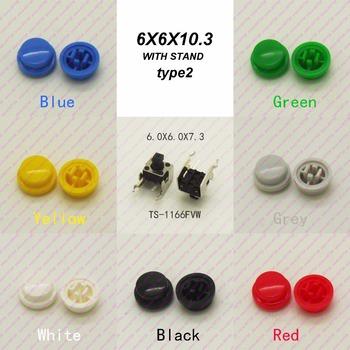 10 sztuk 6X6X7 3 MM z czapka Dia 9 8mm poziome chwilowy takt przycisk Top plac głowy taktyczne klucze przełącznik mini przycisk tanie i dobre opinie CN (pochodzenie) ROHS Przełączniki 1year TS-1166FVW Horizontal Przełącznik Wciskany