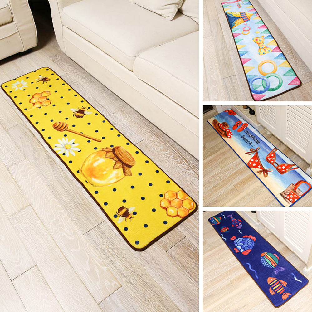 40x160cm Honey/Sunshine Beach/Magic Castle/Fish Ocean Flannel Rug and Carpets For Bedroom Cartoon Kids Carpet Kitchen Floor Mats