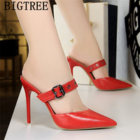 BIGTREE Shoes Luxury Heels Mules Shoes Women Fetish High Heels Pumps Women Shoes Black Heels Zapatos Mujer 2019 Sapato Feminino