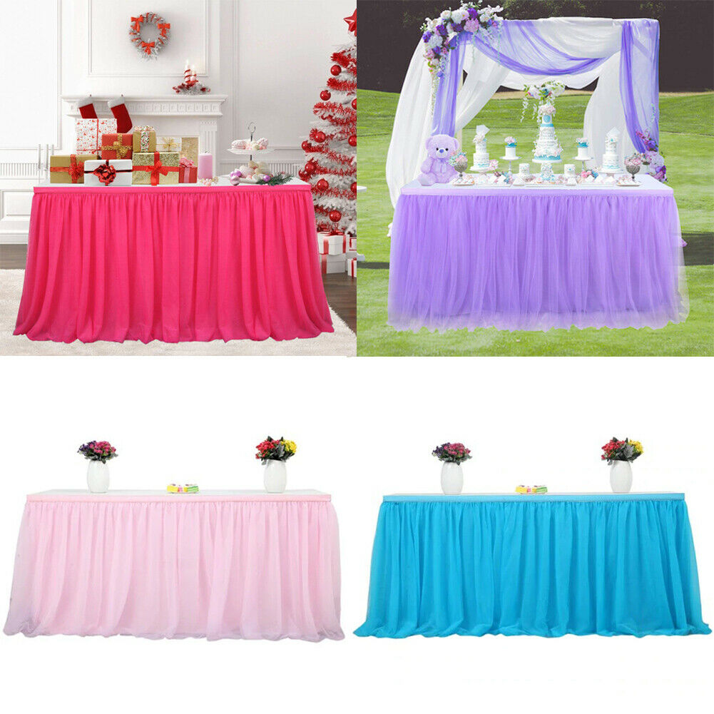 5 Colors NEW Tutu Tulle Table Skirt Cover Christmas Birthday Party Baby Shower Tableware