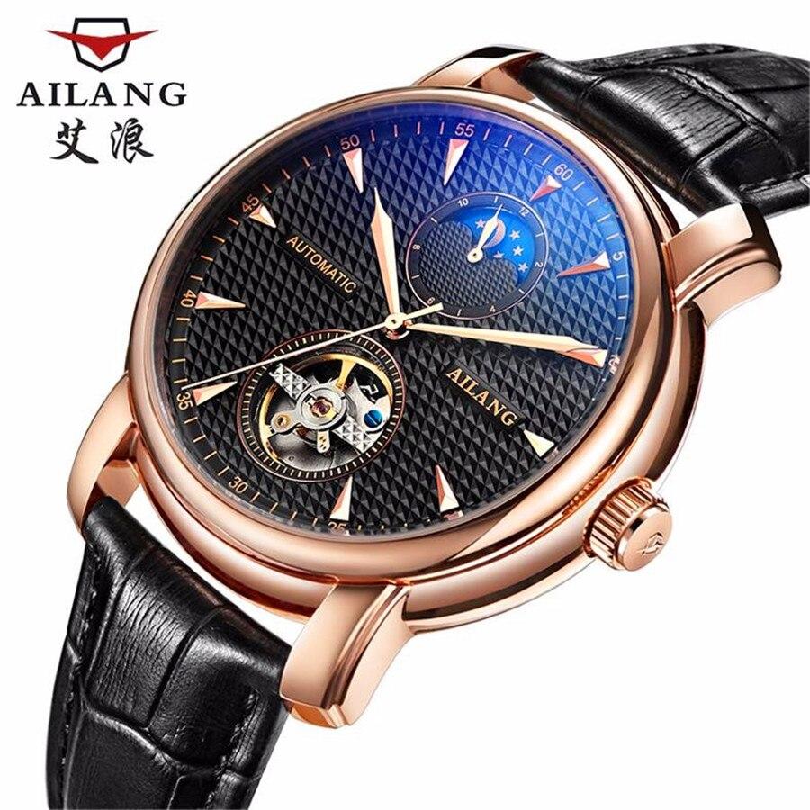 AILANG мужские часы Топ бренд класса люкс новый список Бизнес платье часы Автоматическая Дата Мужчины сталь турбийон механические часы