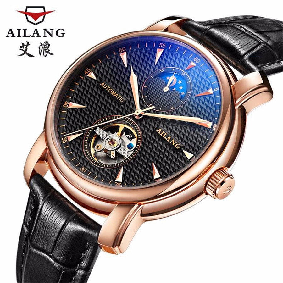 AILANG Mens Watches Top Brand Luxury The New Listing Business Dress Watch Automatic Date Men Steel Tourbillon Mechanical Watch original binger mans automatic mechanical wrist watch date display watch self wind steel with gold wheel watches new luxury