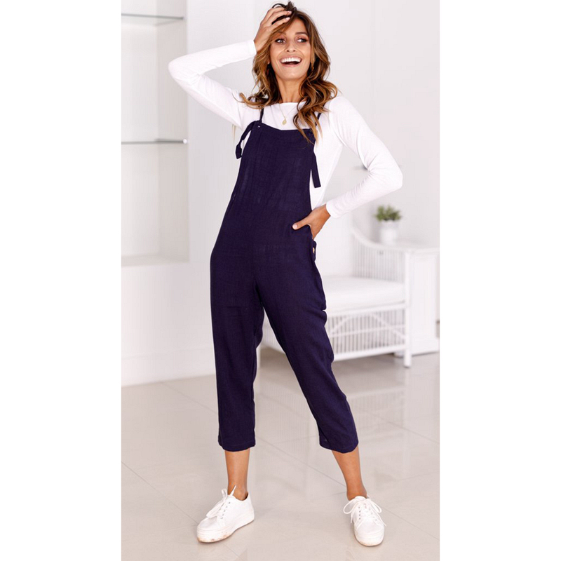 Cotton Navy Blue Jumpsuits For Womens 2018 Summer Casual Ankle-Length Dungarees With Buttons Vintage Black Overalls For Women