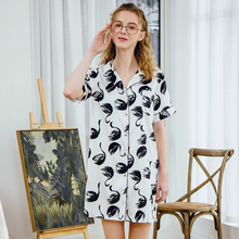 Roseheart Spring White Sleeping Shirt Sleep Wear for Women Printed Collar Neck Woven Female Sexy Tops Clothes Plus Size