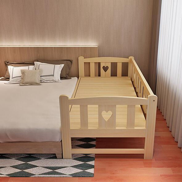 Solid Wood Simple Modern Lengthen Widen Children Bed Combine Big Bed Baby Crib Strong Bearing Pine Wooden Baby Bed 1