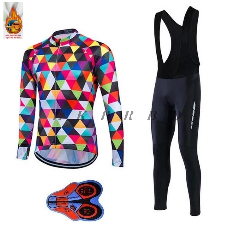 2018 Men Winter Thermal Cycling Clothing Fleece Jersey Bike Bicycle suits Cycling Kit Ropa Ciclismo 9D GEL cycling jersey sets