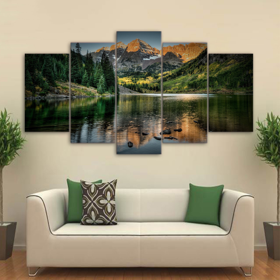 Modern Home Decor Living Room Modular Canvas 5 Panel Mountains Lake Landscape Frame Wall Art Poster HD Print Painting Pictures 1