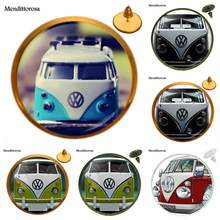For Girls Best Gift Jewelry Glass s Bronze/Silver/Golden Clip Ear Hook Stud Earring Bijouterie Blue Yellow Hippie Peace Van Bus(China)